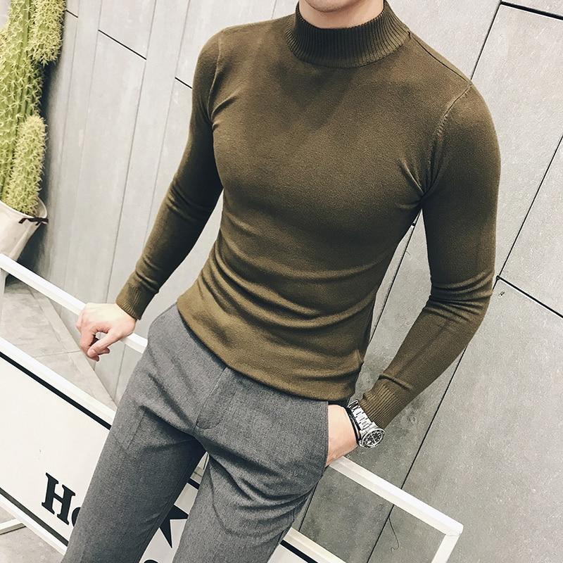 Long White T-shirt For Mens Sweaters Short Sleeve Turtleneck Erkek Kazak Slim Fit Stand Collar Social Club Sexy Tee Mens Green