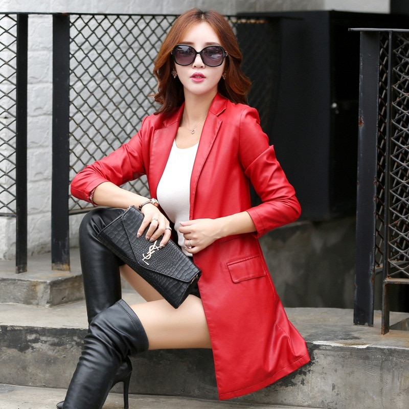 Womens Faux Leather Lapel Collar Coat Slim Fit Mid Length Trench Coats One Button Black Red Wine Red C61 enlarge
