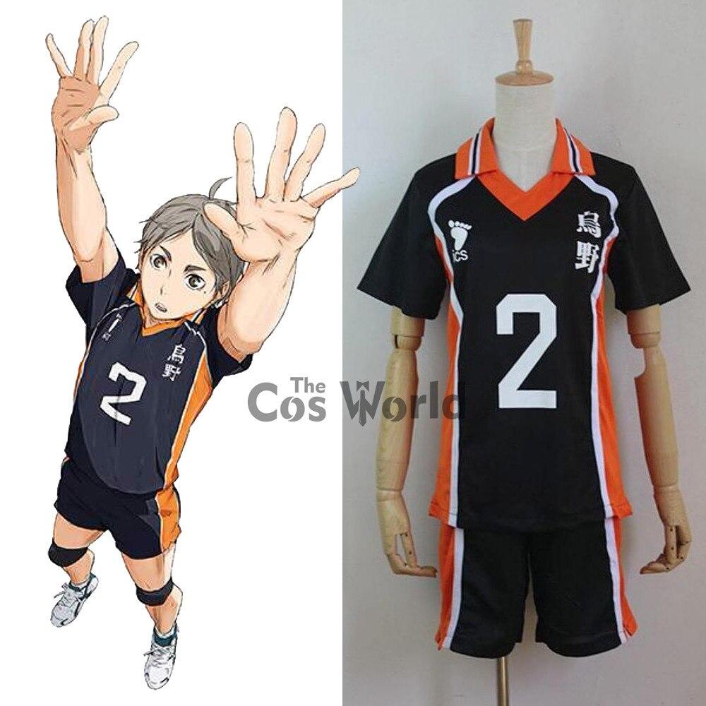 Tee Karasuno Sugawara Koushi No.2 alta uniforme de la escuela camiseta Tops pantalones ropa deportiva Jersey Anime Cosplay disfraces