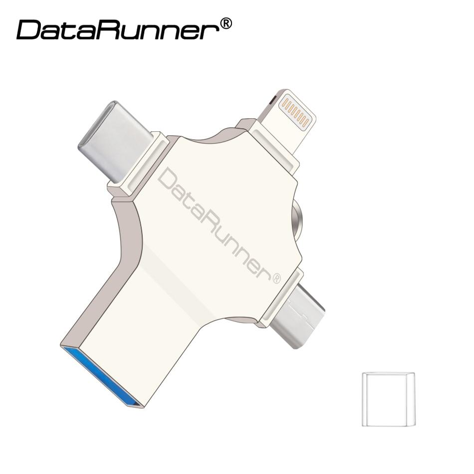 Pen drive 16 gb 32 64 gb disco flash usb 128 pendrive datarunner 4 em 1 design usb pen drive 3.0 gb usb vara 3.0 otg
