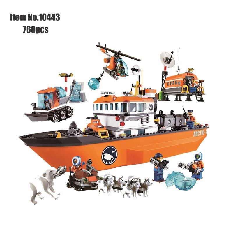 Laranja Ice Breaker Navio Blocos de Construção Da Cidade Clássico Aventura Polar Ártico navios Figura bricks Brinquedos Para Crianças Compatíveis