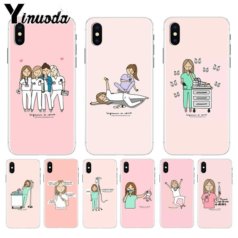 Yinuoda de dibujos animados médico enfermera moda novedosa divertido dinámica de la caja del teléfono para el iPhone 8 De Apple 7 6 6S Plus X XS X max 5 5S SE XR cubierta