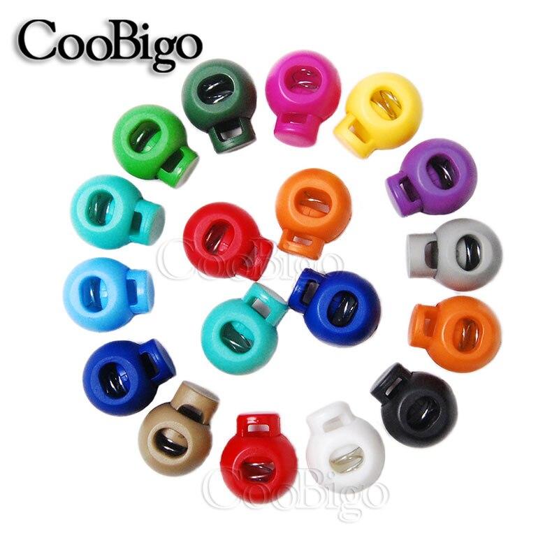 20 Uds plástico colorido bola redondo resorte cuerda de bloqueo de palanca Clip de tope para ropa deportiva soga para calzado DIY piezas de artesanía