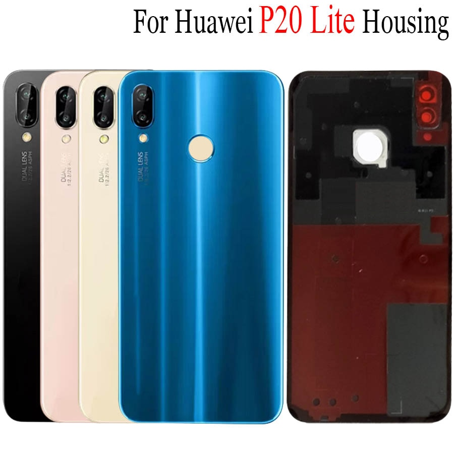 For Huawei Nova 3e Back Battery Cover Glass P20 Lite With Camera Lens Rear Door Housing Case Panel G
