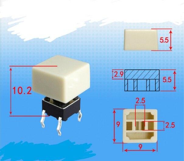 9*9*5.5 quadrado keycap bege A84 diâmetro Interno 2.5X2.5 Equipado com 6*6 quadrado toque interruptor de luz de cabeça