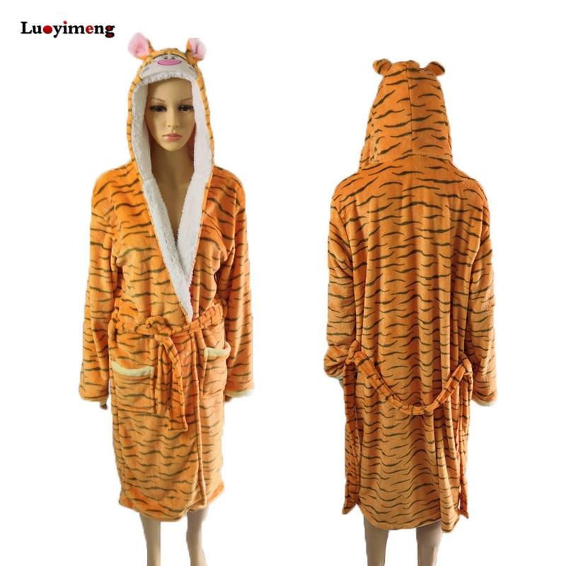 Unicorn Tigger Cartoon Robes For Women Long Sexy Robe Stitch Animal Women Sleepwear Winter Autumn Bathrobe Nightgown Robe Femme