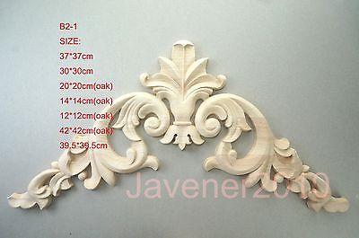 B2-1 -12x12cm Esquina de madera tallada de roble apliques marco sin pintar puerta calcomanía trabajo carpintero flor