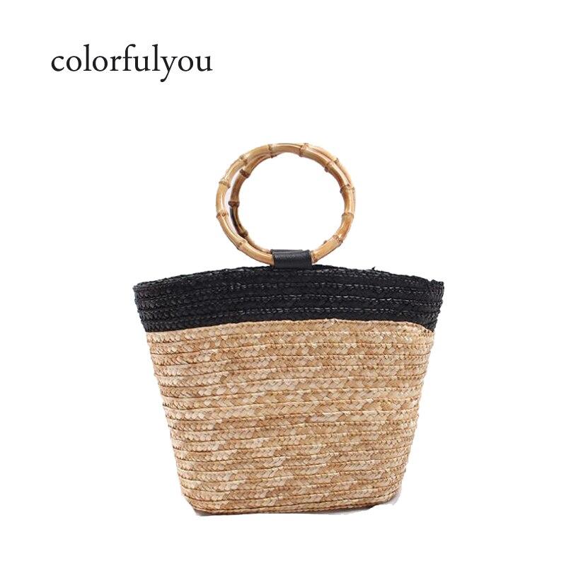 Bolso de paja tejido a mano de diseñador de marca 2019 para mujer, bolso de verano con cordón, bolso con asa de bambú, bolso de playa de gran capacidad