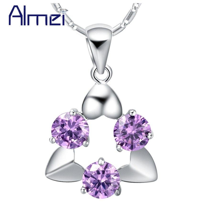 Almei 15% largo Collier Femme púrpura dama de joyería de plata collar de cristal colgantes Bisuteria blanco diamantes de imitación Bijoux mujeres N644