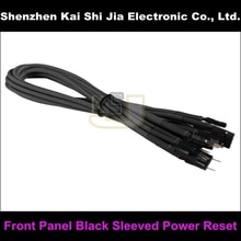 "Frete grátis 12 ""preto sleeved pc painel frontal cabo de extensão energia redefinir sw power sw hdd led"
