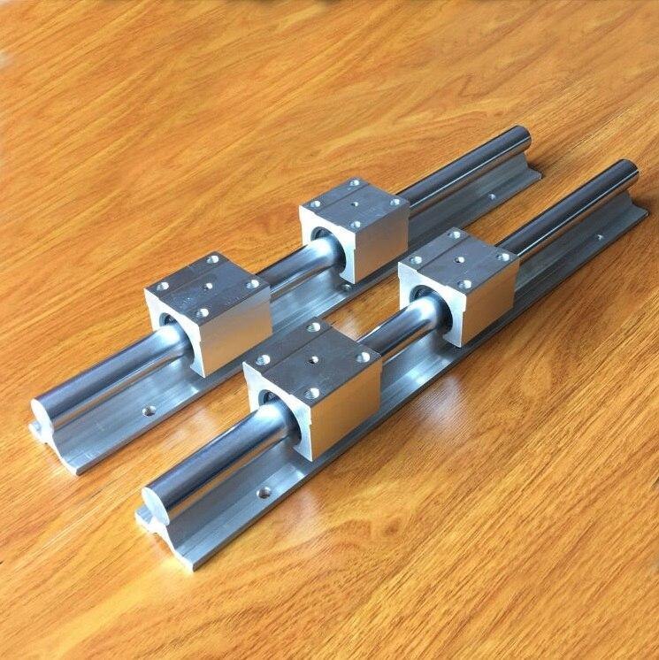 2 uds SBR10 1600mm/1700mm/1800mm/1900mm guía lineal de soporte + 4 Uds bloques de cojinete lineal deslizante SBR10UU para enrutador CNC