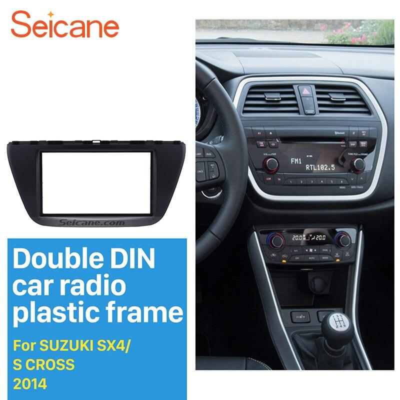Seicane Preto Double Din Car Radio Fascia para 2013 2014 Suzuki SX4 S Cruz DVD Quadro Kit Traço Stereo Auto fabricante guarnição