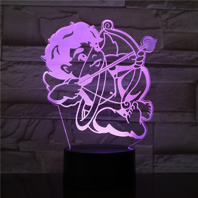 3D LED 램프 큐피드 활과 화살 머리맡 7 색 변경 RGB 소년 아이 아이 아기 생일 선물 USB 3D LED 밤 빛 장식