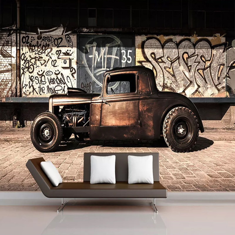 Personalizado foto papel 3D Retro de Graffiti vieja nostalgia coche Mural restaurante Cafe vida fondo de sala decoración de la pared de 3D de papel de pared