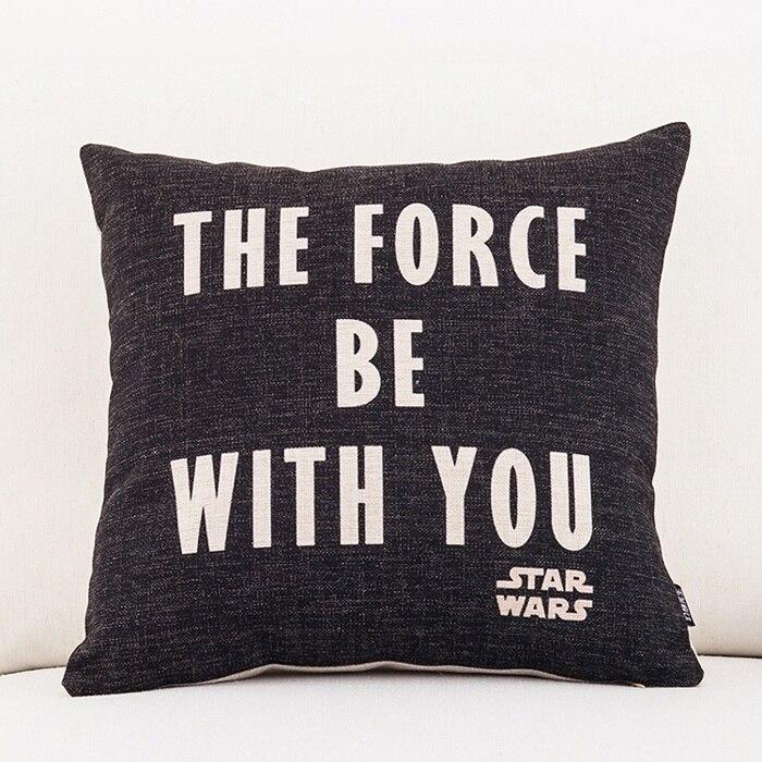 Star Wars Yoda Darth Vader Fundas de cojín The Force Be With You Empire funda de almohada decorativa sofá de lino Beige funda de almohada