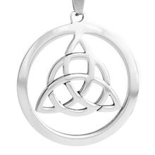 100% Stainless Steel celta Triangle Celtic Knot Round Pendant Viking Triquetra Pendants Jewelry Triquetra Charm 10pcs