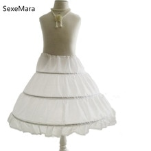 Wit Kinderen Petticoat 3 Hoops Een Layer Kids Crinoline Kant Trim Bloem Meisje Jurk Onderrok Cancan Elastische Taille