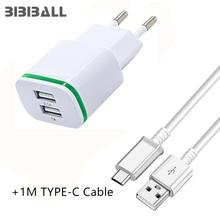 Luz LED de la UE 2A cargador USB + 1 M USB-C tipo c USB para xiaomi mi 8 6x a1 mi8 ZTE Nubia N1 Z11 /Z11 Max/Z11/mini/ZTE Axon 7 Mini