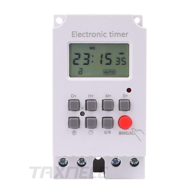 KG316S de alta carga 30A 220V 7 días semanalmente digital iluminación electrónico temporizador intervalo de 1 segundo de salida directa