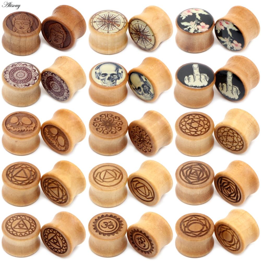 Заглушки для ушей Alisouy из натурального дерева, туннели для пирсинга, 2 шт., 8-20 мм