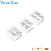 10 pièces 21*15*10mm radiateur refroidissement aileron radiateur refroidisseur aluminium dissipateur de chaleur pour TO3 à-3 Transistor 21X15X10mm