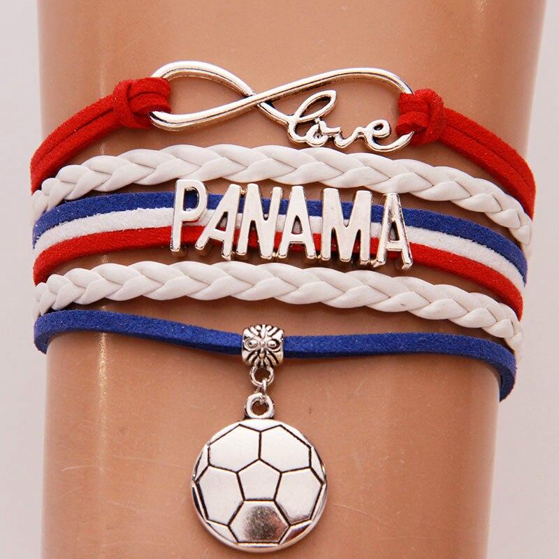 NCRHGL infinito amor Panamá pulseras brazaletes de fútbol encanto trenzado pu pulsera de cuero joyería para Mujeres Hombres fans Drop Shipping
