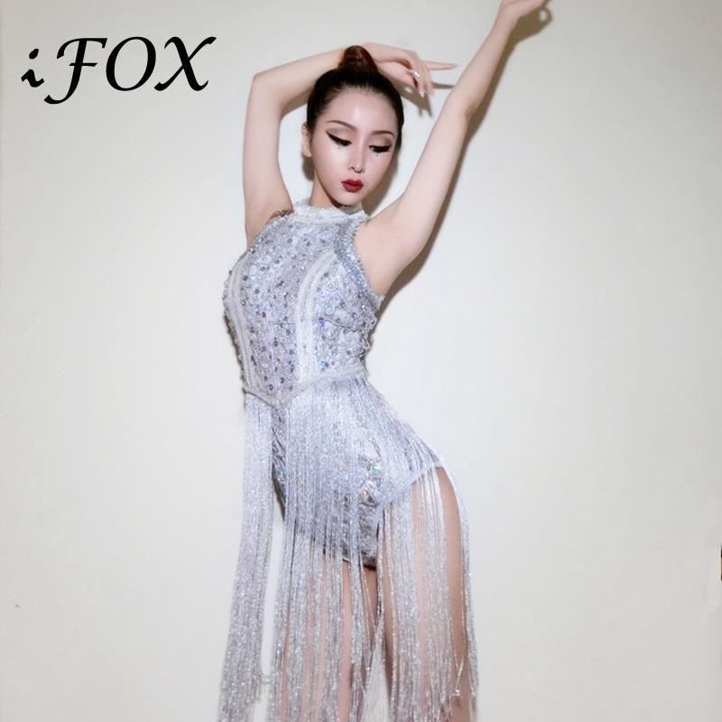 2020 prata strass borla sexy bodysuit feminino jazz dance party outfit dj ds discoteca trajes de palco beyonce para cantores