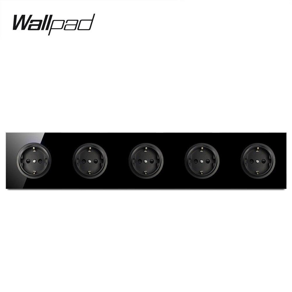Wallpad L6 שחור מזג זכוכית מחומשת מסגרת האיחוד האירופי קיר שקע Pentuple 5 כנופיית חשמל גרמנית כוח לשקע 16A עגול עיצוב
