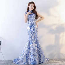 Style chinois de mariage longue Cheongsam rétro Sexy mince fête robe de soirée robe de mariage Qipao mode dame vêtements Vestidos S-XXL