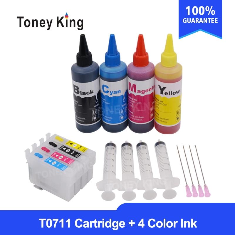 T0715 لإبسون ستايلس مكتب B40W BX300F BX300FW BX310FN طابعة T0711-4 خراطيش حبر قابلة لإعادة الملء + 4 اللون 100 مللي الملء الحبر