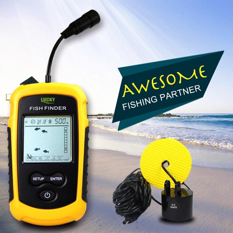 100m lcd Portable Sonar Sensor Fish Finder Fishfinder Alarm Beam Transducer echo sounder with display deeper fishing finder enlarge