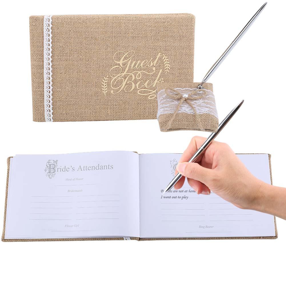 Libro de invitados de boda tela de arpillera con encaje flores invitado caligrafía libro para cumpleaños boda de recepción de fiesta decoración del hogar DA