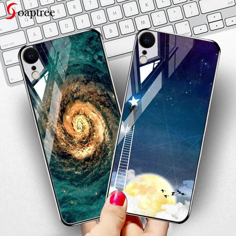 Étui pour iPhone en verre trempé 7 8 X étuis étoiles housse despace sur le pour iPhone 6S 6 7 8plus X pare-chocs pour iPhone XR XS Max Funda