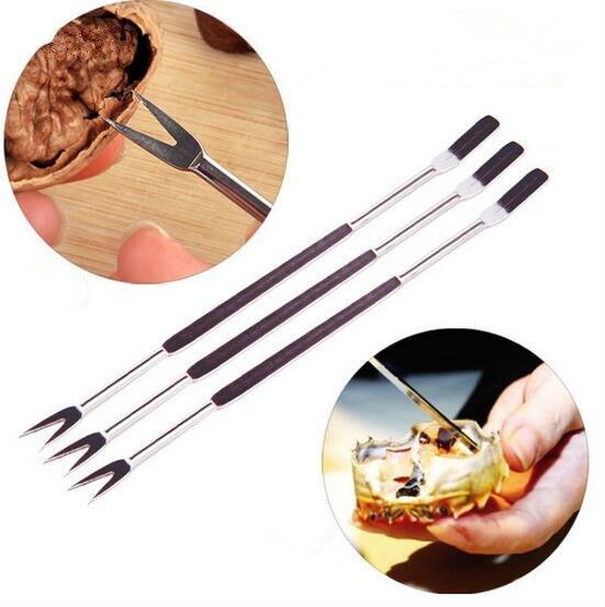 1 pieza accesorios de cocina aguja de cangrejo de acero inoxidable, tenedor de fruta, aguja para nueces, aguja para mariscos, herramienta tipo tuercas para cocina Gadge OK 0428