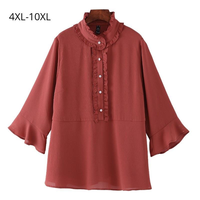 Plus Size 10XL 9XL 8XL 5XL 4XL Women 3/4 Sleeves Summer Blouse Female Vintage Ruffle Collar Flare Sleeves Slim Chiffon Blouses