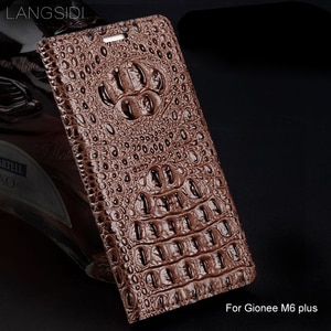 Luxury genuine leather flip phone case Crocodile back texture For Gionee M6 plus All-handmade phone case