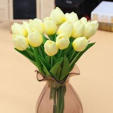 Mini tulipe en Pu 10 pièces/lot   Bouquet de fleurs véritables tactiles, fleurs artificielles en soie pour décoration de fête maison mariage