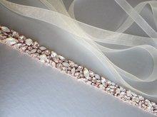 MissRDress Wedding Dress Belt Crystal Rose Gold Handmade Opal Wedding Rhinestones Bridal Belts Sash Wedding Diamond Belt JK920