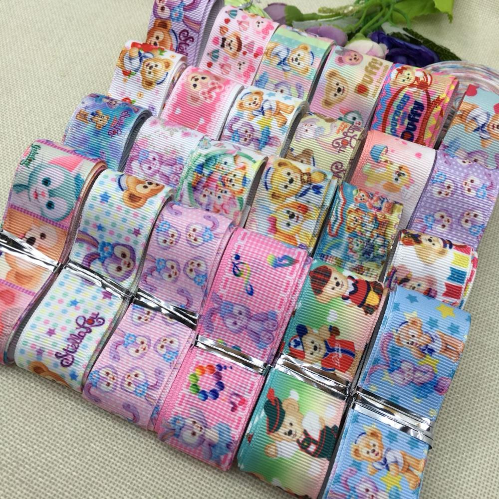New random set of 25mm hot mix of Japanese cartoon sales pattern printed grosgrain ribbons, 1 y / style