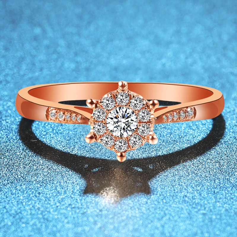ZHJIASHUN الكلاسيكية 0.1CT الحقيقي الطبيعي الماس الزفاف خواتم للنساء 18k 585 روز الذهب الفرق المشاركة غرامة مجوهرات