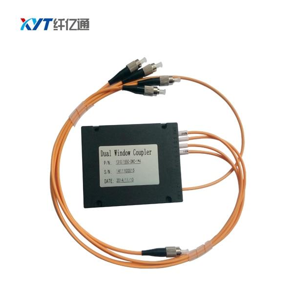 free shipping 1x4 Single-mode Coupler Dual Window 1310/1550nm 1*4 FBT ABS box type Splitter with FC/UPC