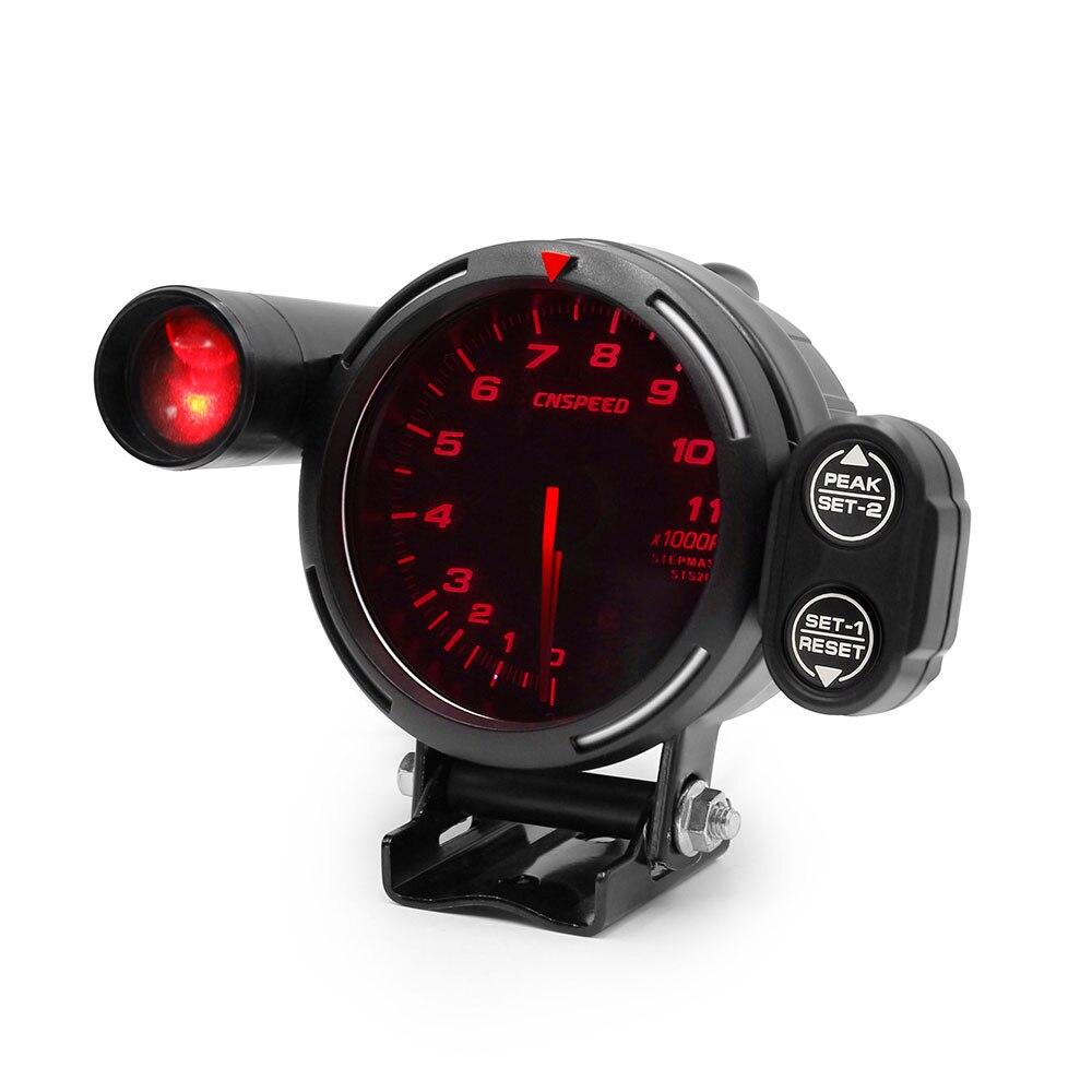 Envío Gratis CNSPEED 80MM 7 colores Auto tacómetro calibre 0-11000 Rpm motor paso a paso de alta velocidad con luz de cambio y advertencia de pico