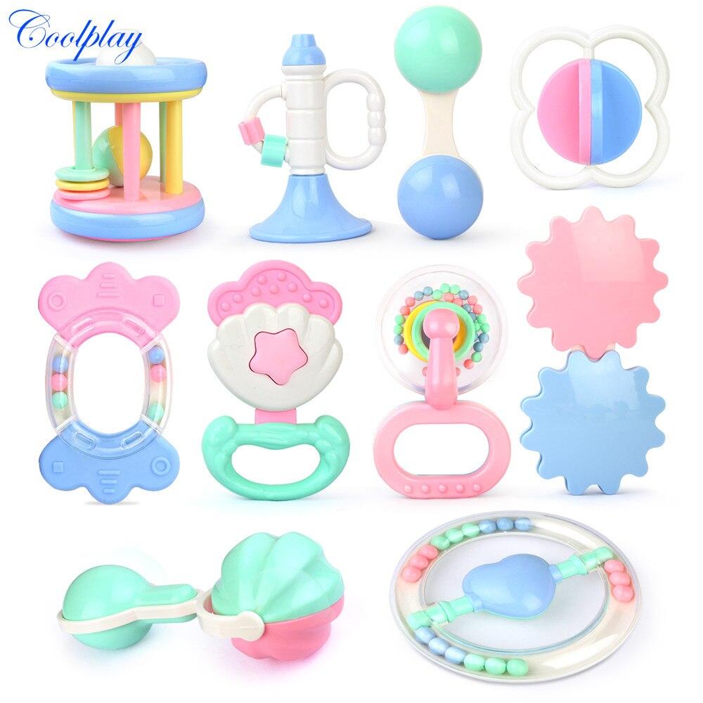 Juguetes para bebés Coolplay, sonajero de mano con cascabel y sonajero de mano, sonajeros de juguete para bebés recién nacidos de 0 a 12 meses, juguetes mordedores