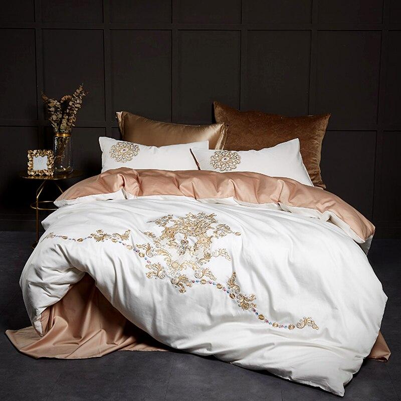 Juego de cama blanco con bordado de boda de lujo de algodón egipcio 600TC, funda de cama tamaño Queen King, funda de edredón, funda de almohada, juego de sábanas # a