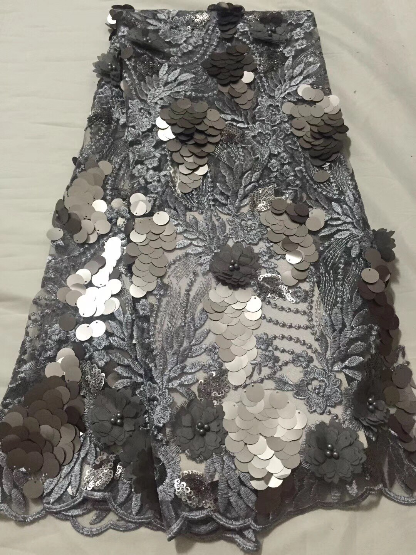 Tela de encaje gris africano bordada tela de encaje francés Guipure nigeriano de alta calidad 2017 tela de encaje de red francesa
