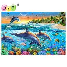 DPF 5D Diy diamond schilderen Diamond borduurwerk Zee Wereld Dolfijn diamont schilderen Diamant mozaïek geplakt Volledige Stickers