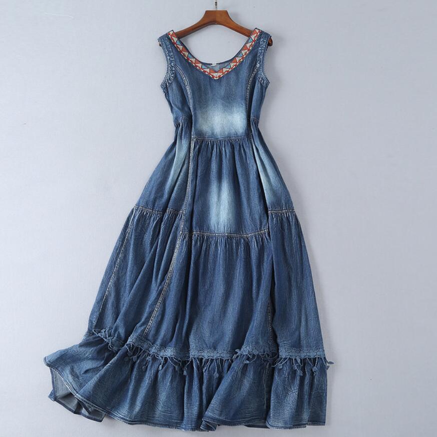 summer New Vintage Denim V-Neck Sleeveless embroidery Lace Swing Hem long jeans dress a-line