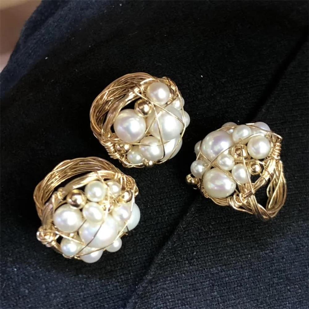Gemstone fine jewelry fábrica atacado étnico natural branco pérola especial cluster anel para mulher