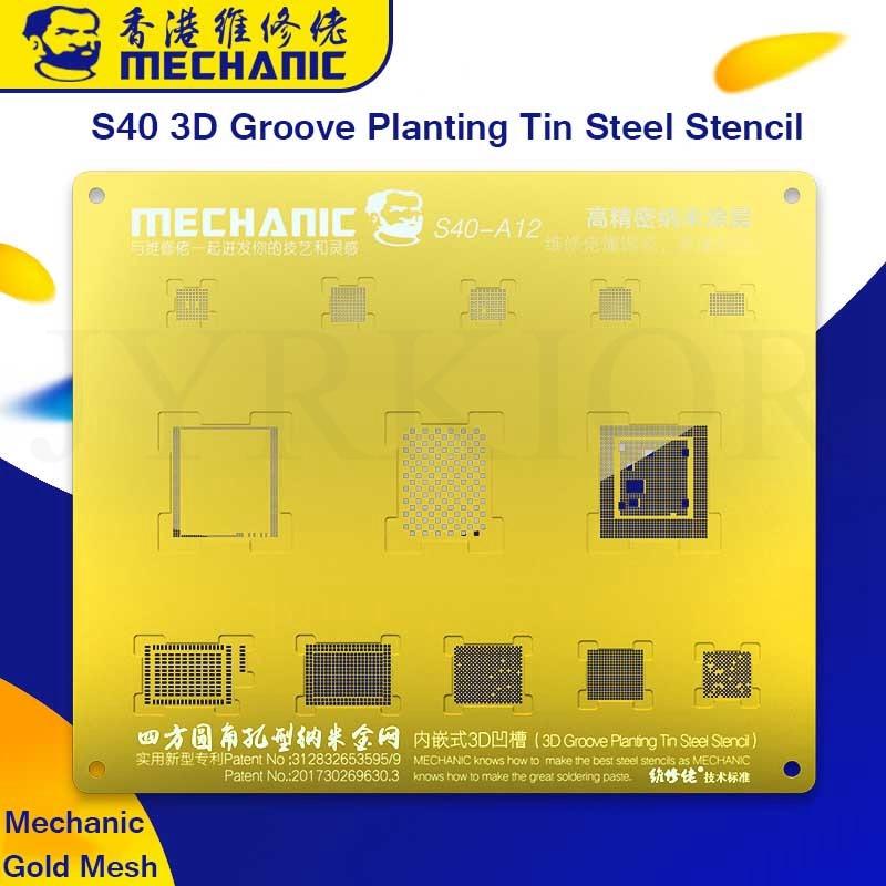 Mechanic s40 a8 a9 a10 a11 a12 3d groove bga reballing dourado estêncil de malha de estanho para iphone 6/6s/6sp/7g/7p/8/8p/x/xs/xs max/xr