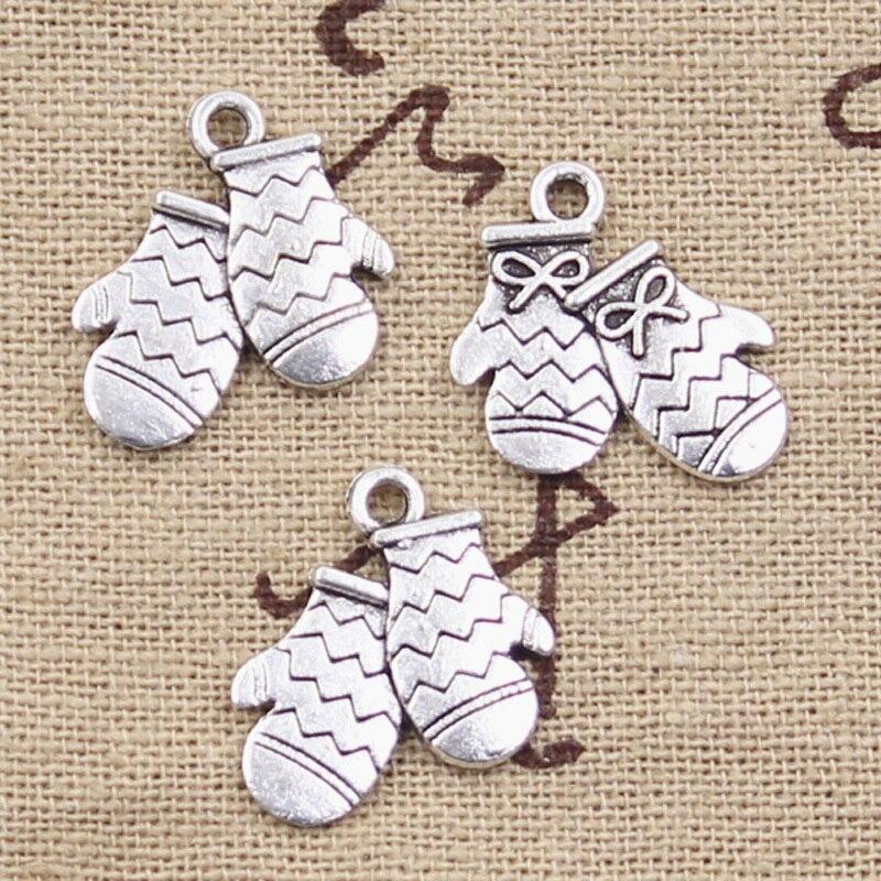 30 piezas de encantos de guantes de Navidad 18x15mm colgantes plateados de Color plata antiguo que hacen joyas de plata tibetana hechas a mano DIY